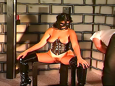 chubby, leather, spanking, HD, mask, submissive
