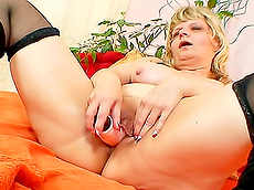 blonde, shaved pussy, stockings, fatty, masturbation