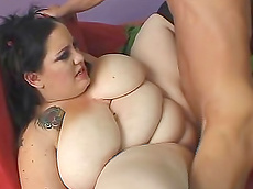 Glory Foxxx - blowjob, brunette, tattoo, cumshot, fat, hardcore