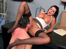 Julie Cash, John Strong, Lacie James - big tits, brunette, shaved pussy, glasses, chubby, facial, nylon, HD, table