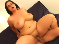 doggy style, shaved pussy, glasses, wet, cumshot, fat, pussy, cock sucking, fatty