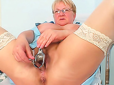 Radka - glasses, stockings, mature, medical, fat, gyno