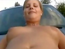 fingering, shaved pussy, car, chubby, amateur, sex, fucking