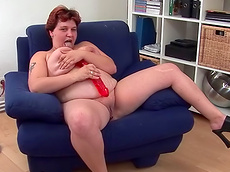 Renate Zug - shaved pussy, toys, short hair, fat, HD, solo girl, masturbation